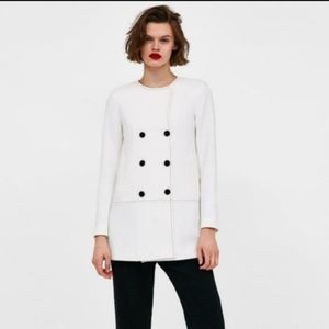 NWT Zara Coat with Contrasting Topstitching